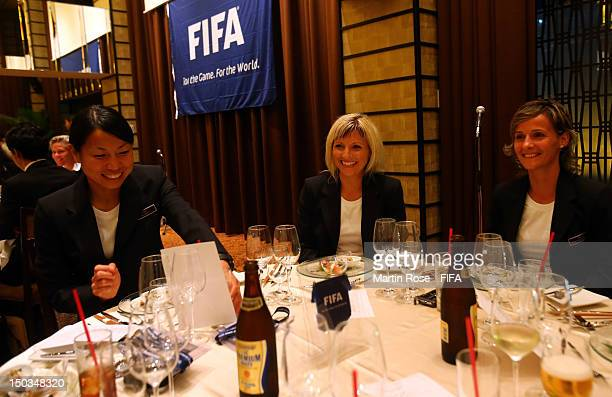 The referees of the FIFA U20 Women's World Cup are pictured during the referees dinner at The Place of Tokyo on August 16 2012 in Tokyo Japan