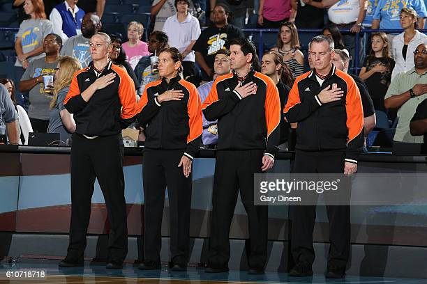 The referees stand for the national anthem before Round Two of the 2016 WNBA Playoffs on September 25, 2016 at Allstate Arena in Rosemont, IL. NOTE...