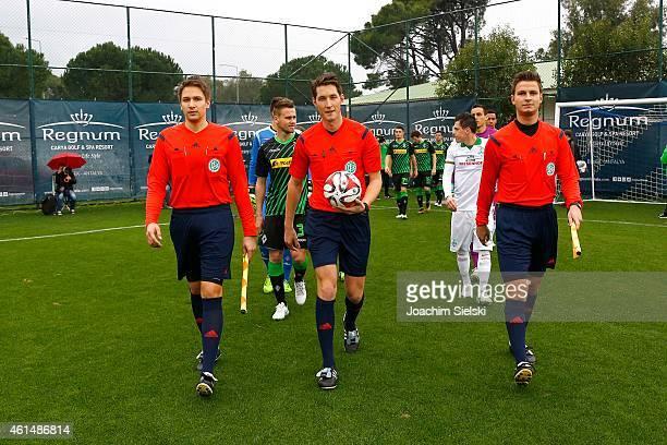 The Referees Tobias Reichel Matthias Joellenbeck and Daniel Schlager during the friendly match between Borussia Moenchengladbach and SV Werder Bremen...