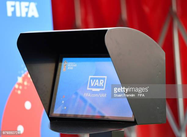 The referees VAR review screen is seen prior to the 2018 FIFA World Cup Russia group B match between Portugal and Morocco at Luzhniki Stadium on June...