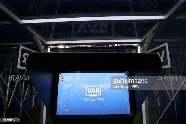 The referee's VAR screen is seen after the 2018 FIFA World Cup Russia group A match between Saudia Arabia and Egypt at Volgograd Arena on June 25...