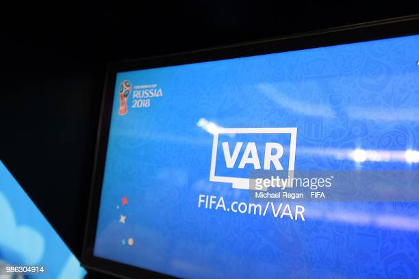 The referee's VAR screen is seen prior to the 2018 FIFA World Cup Russia group G match between Panama and Tunisia at Mordovia Arena on June 28 2018...
