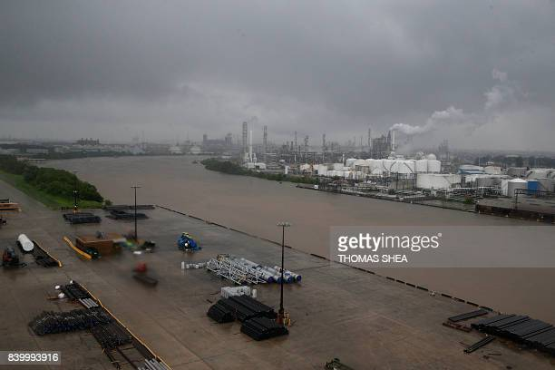 The refinery section of the Houston Ship Channel is seen as flood water rise on August 27 2017 as Houston battles with tropical storm Harvey and...