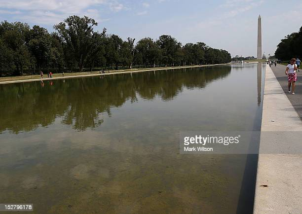 The Reflecting Pool in front of the Lincoln Memorial that is full of algae after recently being filled with water on September 26 2012 in Washington...
