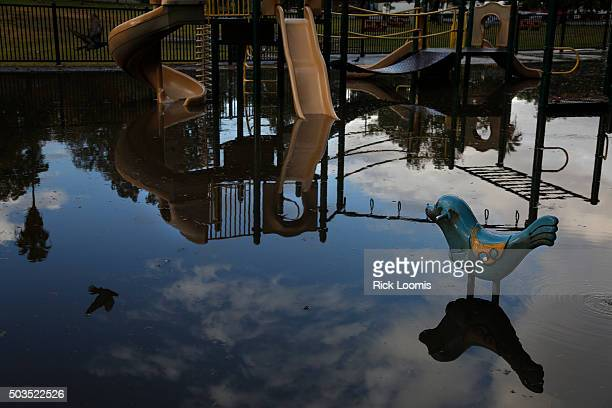 LOS ANGELES CA TUESDAY JANUARY 5 2015 The reflection of a pigeon is seen along with clearing skies in a flooded playground in Hollenbeck Park as...