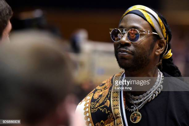 The reflection of Grayson Allen of the Duke Blue Devils is seen in the sunglasses of rapper 2 Chainz during ESPN's College GameDay show ahead of the...