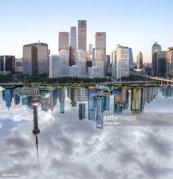 the reflection of lujiazui - anaphase stock pictures, royalty-free photos & images