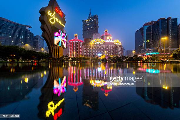 CONTENT] The reflection of many casinos and hotels in macau This photo was taken from the pool in front of Wynn hotel