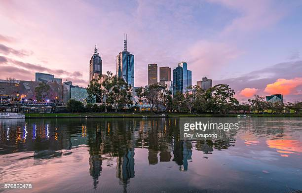 The reflection of Melbourne CBD with the beautiful twilight.