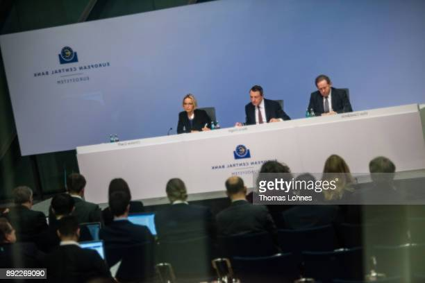 The reflection of the ECB press conference with Mario Draghi President of the European Central Bank and the Vicepresident Vitor Constancio is seen in...