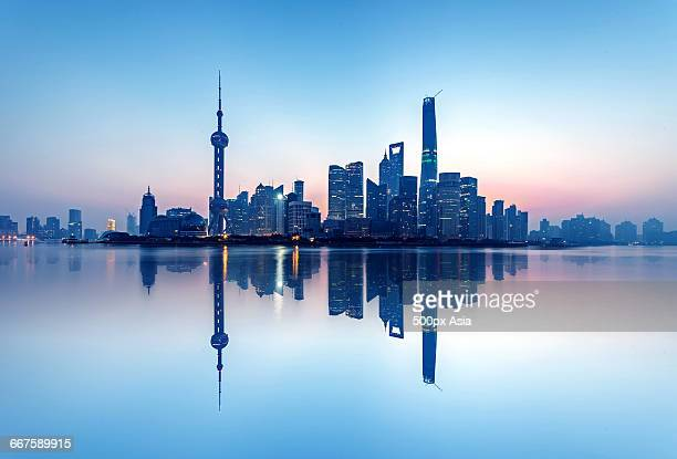 The Reflection of the Scenery of Shanghai City