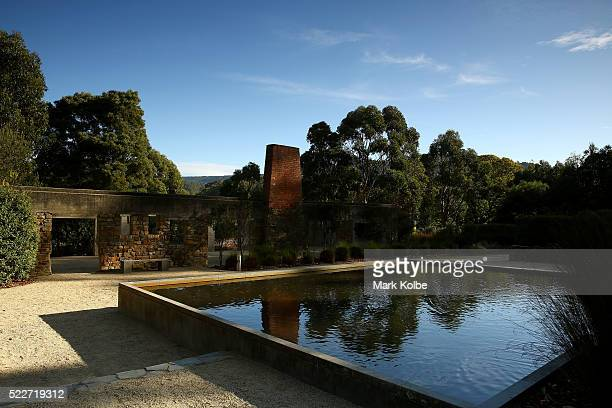The reflection pool in the Memorial Garden of the Port Arthur Historical Site on April 18 2016 in Port Arthur Australia The historic town became...