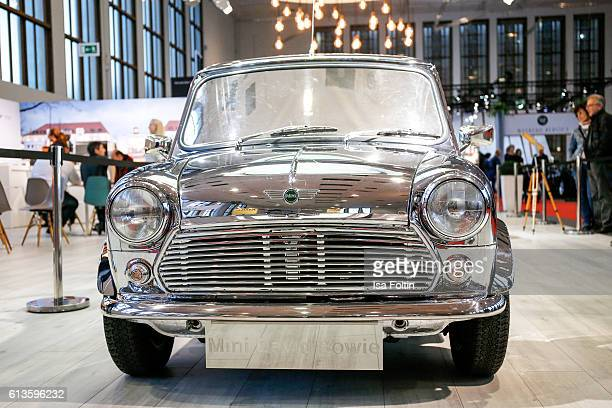 The reflectorized Mini of David Bowie seen at the Motorworld Classics Oldtimer Car Show on October 8 2016 in Berlin Germany