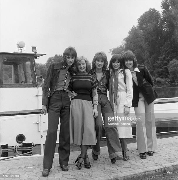 The reformed New Seekers pop group posing on a canal towpath in Brentford, west London, 3rd June 1976. Left to right: Paul Layton, Kathy Ann Rae,...