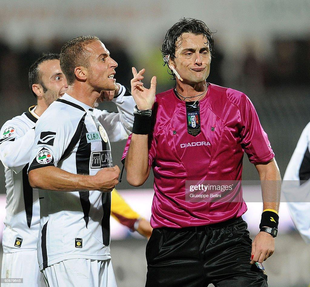 The refree Angelo Giancola shows the red card to Andrea Giallombardo of Ascoli Calcio during the Serie B match between Ascoli Calcio and AS Cittadelle at Stadio Cino e Lillo Del Duca on November 7, 2009 in Ascoli Piceno, Italy.