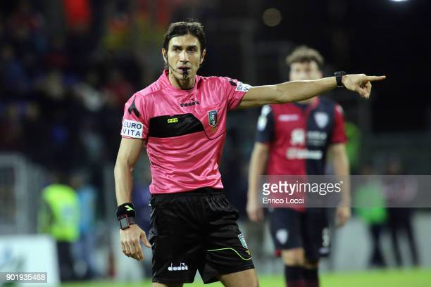 the refree looks on during the serie A match between Cagliari Calcio and Juventus at Stadio Sant'Elia on January 6 2018 in Cagliari Italy