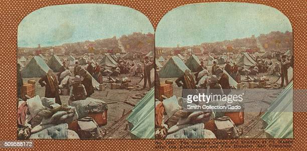 The refugee camps and shelters at Fort Mason after the earthquake and fire disaster San Francisco 1906 From the New York Public Library