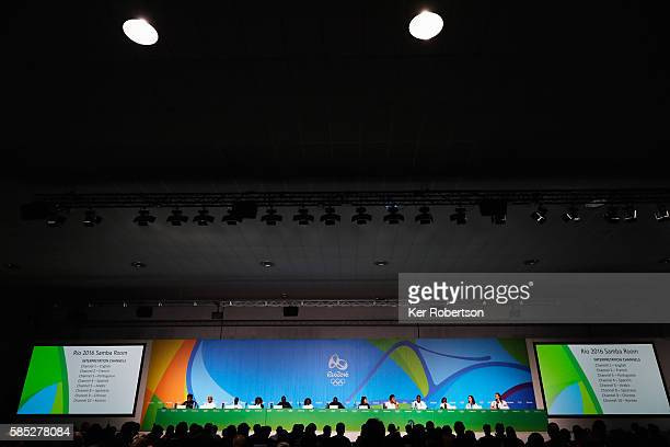 The Refugee Olympic Team attend a press conference on August 2, 2016 in Rio de Janeiro, Brazil.
