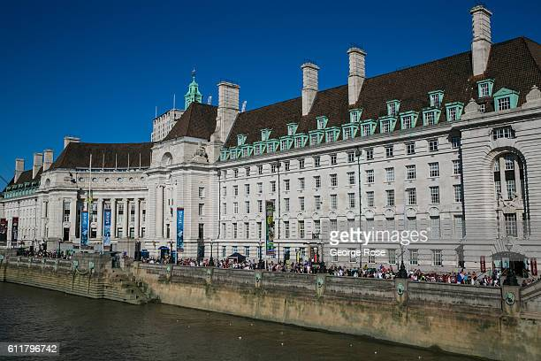 The refurbished County Hall and Marriott Hotel is viewed on September 11 in London England The collapse of Great Britain appears to have been greatly...
