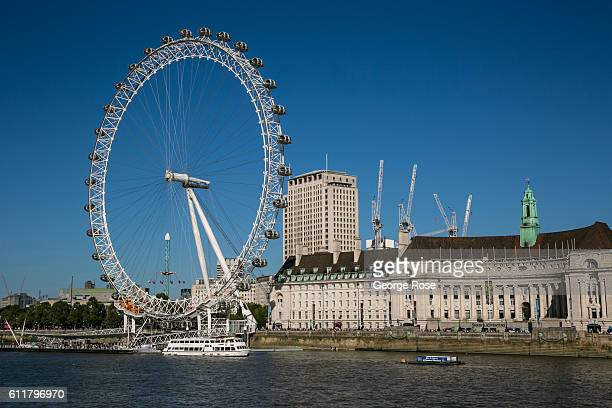The refurbished County Hall Marriott Hotel Shell Building and London Eye is viewed on September 11 in London England The collapse of Great Britain...