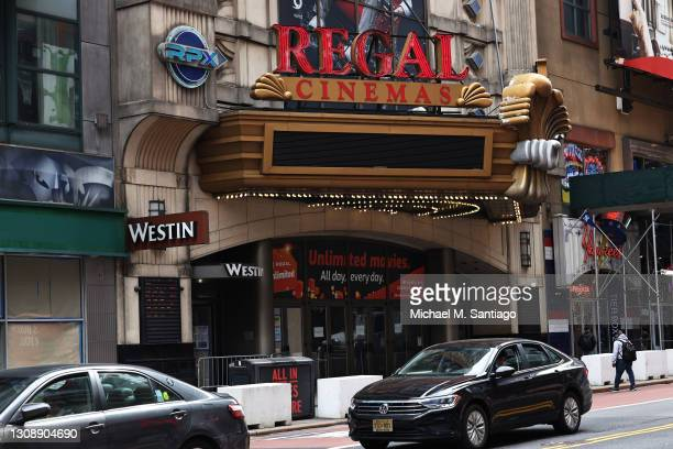 The Regal Cinemas in Times Square is seen on March 24, 2021 in New York City. Regal Cinemas parent company, Cineworld Group, announced on Tuesday...
