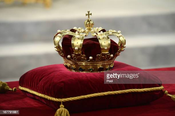 The regalia lie at the credencetable prior to the inauguration of HM King Willem Alexander of the Netherlands at New Church on April 30 2013 in...