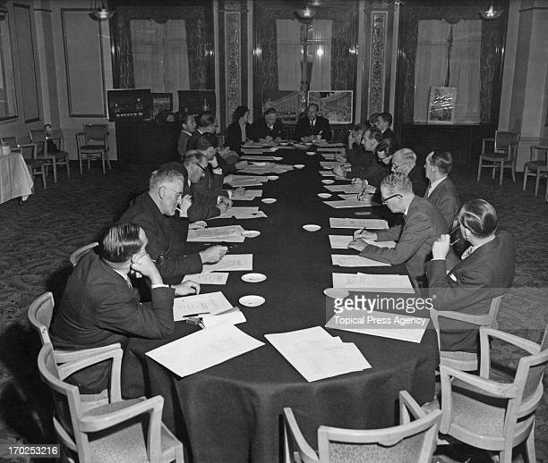 The Regent Street Association Commitee meet at the 'Cafe Royal' to discuss their Coronation decoration plans for Regent Street London 19th August 1952