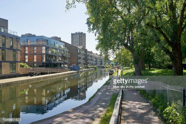 The Regent's Canal at Victoria park, East London.