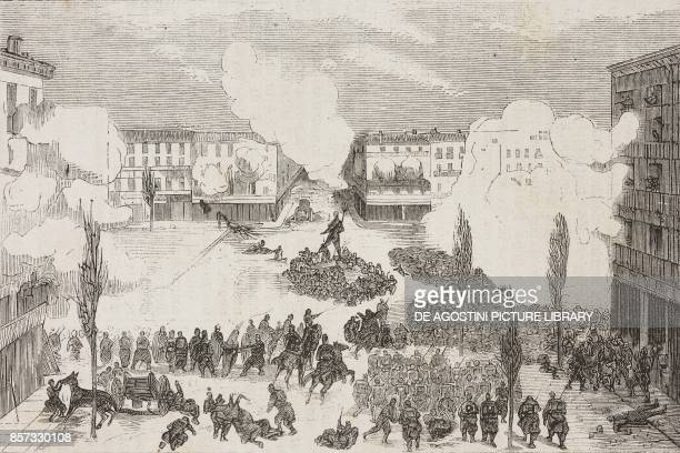 The regiment of Asturias charging with bayonets the barricade in Calle Arc de Cineja insurrection in Zaragoza Spain the Second Carlist War...