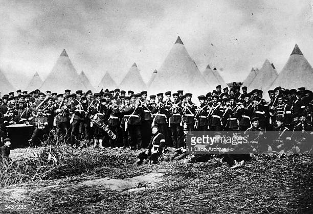 The regimental band and men of the 35th Infantry Regiment in an advanced position at Duppel during the war between Prussia and Denmark It was here...