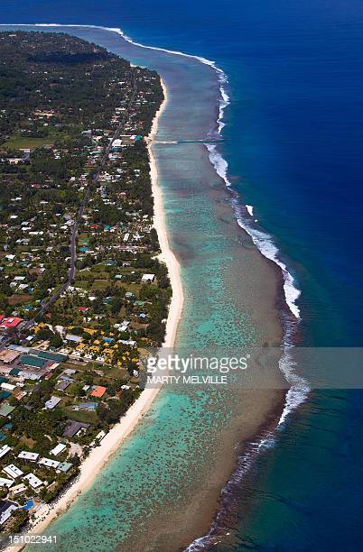 The region of Turoa on the Southern side of the Island of Rarotonga the largest island in the Cook Islands is viewed from the air on August 30 2012...