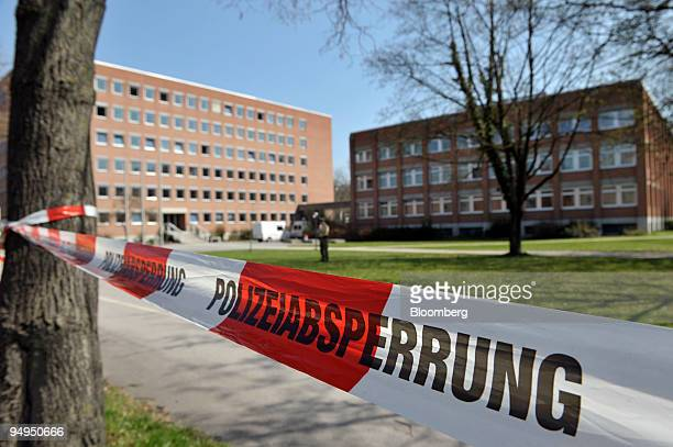 The regional court the site of a shooting is seen blocked off with police tape in Landshut Germany on Tuesday April 7 2009 A 60yearold gunman opened...