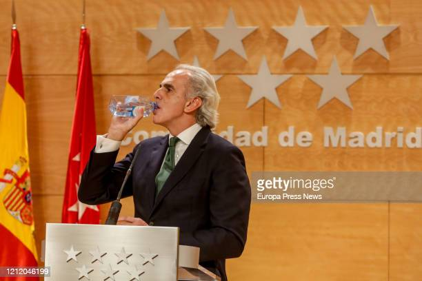 The Regional Minister of Health of the Community of Madrid Enrique Ruiz Escudero drinks water during the presentation of the integral health plan...