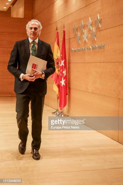 The Regional Minister of Health of the Community of Madrid Enrique Ruiz Escudero after presenting the integral health plan designed by the regional...