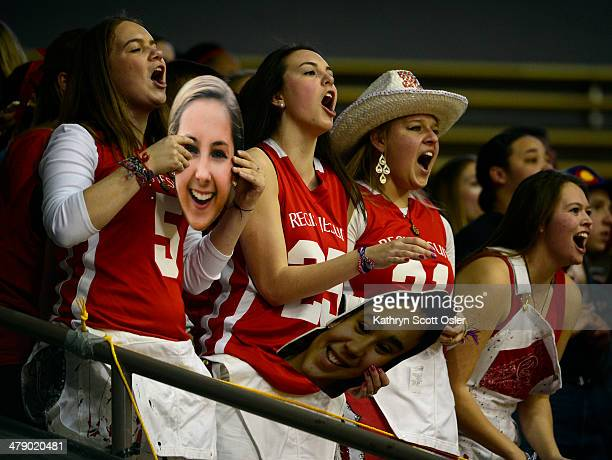 The Regis Jesuit student section cheers on their team The Regis Jesuit Raiders take on the Fossil Ridge Sabercats in the Colorado 5A High School...