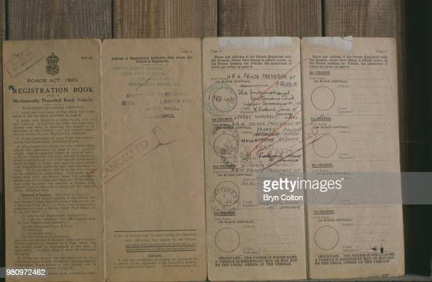 The registration book of a vehicle belonging to Prince Frederick of Prussia UK circa 1990
