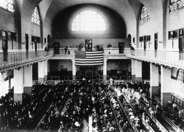 The Registry Hall on Ellis Island, New York.
