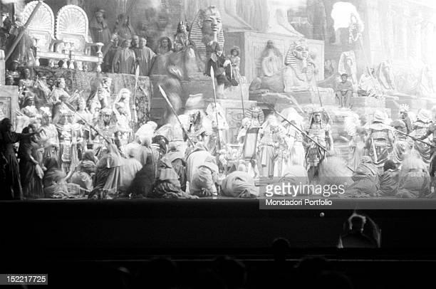 The rehearsal at La Scala Theatre of Milan of the 'Aida' by Giuseppe Verdi with Fiorenza Cossotto Carlo Bergonzi Leontyne Price Aldo Protti and...