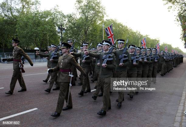 The rehearsal for the State Procession for the Queen's Diamond Jubilee in the Mall in central London