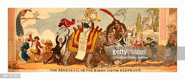 The Rehearsal Or The Baron And The Elephant Cruikshank George 17921878 Engraving 1812 A Satire On The Covent Garden Pantomime Of 181213 Which Caused...