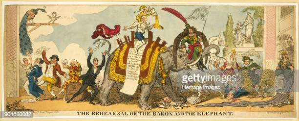 The Rehearsal or the Baron and the Elephant pub 1812 John Philip Kemble sits on the elephants back