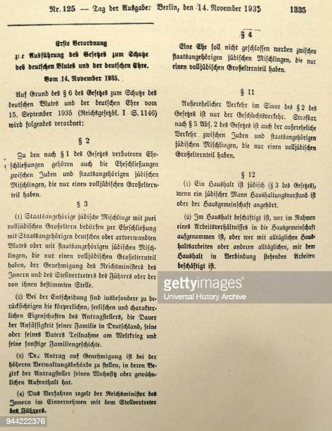The Reich Citizenship Law and the First Regulation to the Reich Citizenship Law The Reichstag passed the socalled Nuremberg Laws on September 15...