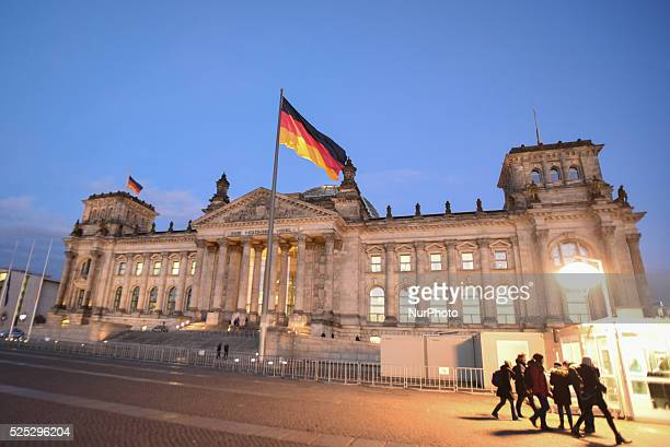 The Reichstag at night the host of the German Federal Parliament on November 23 2015 in Berlin