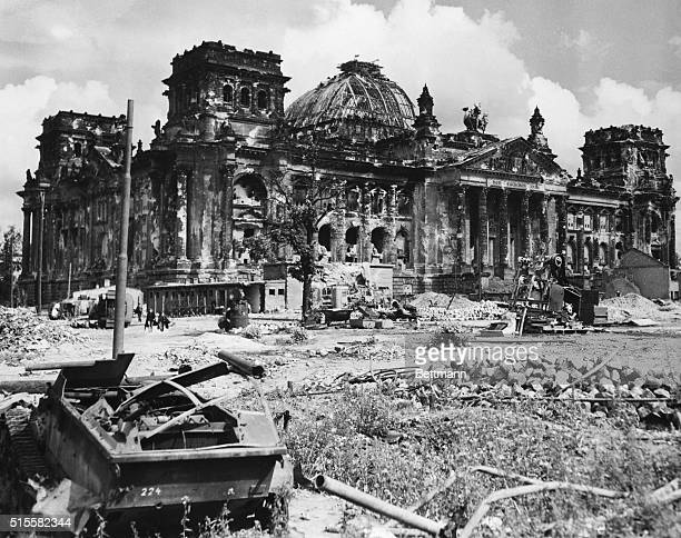 The Reichstag battered and burned after being bombed by the allies and shelled by the Russians