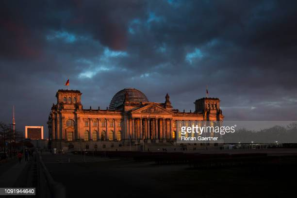 The Reichstag building is pictured during sunset on January 31 2019 in Berlin Germany