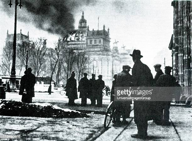 The Reichstag building on fire after an arson attack Berlin 27th February 1933 The event which Adolf Hitler blamed on the Comintern at the time is...