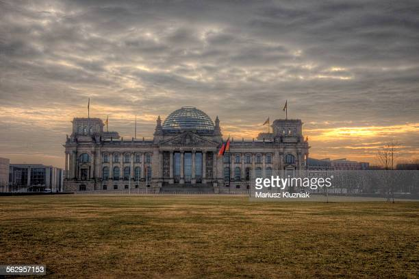 The Reichstag on cloudy sunrise light