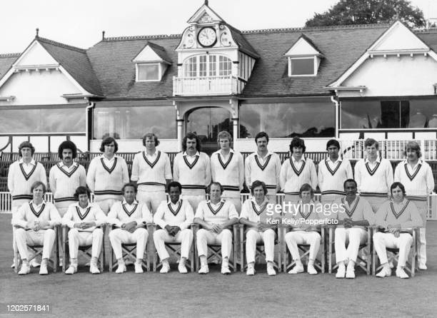 The reigning County Champions Worcestershire at New Road Worcester circa September 1974 Pictured are Keith Wilkinson Ivan Johnson Bob Lanchbury Jim...