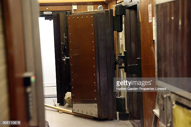 The reinforced steel door to the underground vault of the Hatton Garden Safe Deposit Company which was raided in what has been called the largest...
