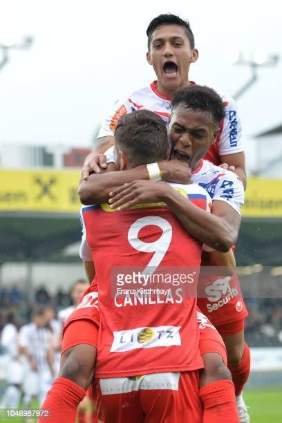 The rejoicing of Alan Lima Carius of FC Linz Nosa Iyobosa Edokpolor of FC Linz and Jorge Pelaez Sanchez of FC Linz during the 2 Liga match between FC...